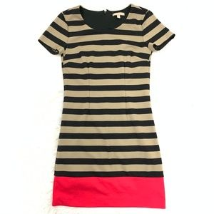 Striped Pink Hem Stretchy Sheath Tshirt Dress 2